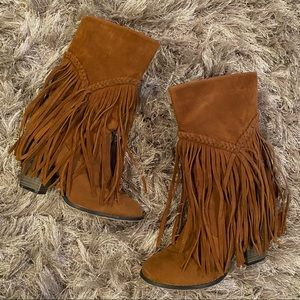 Long Fringe Brown Heeled Wyoming Boots